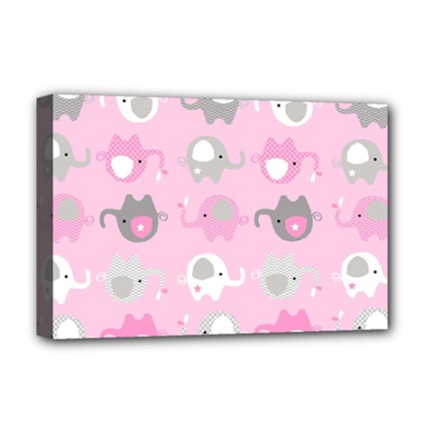 Animals Elephant Pink Cute Deluxe Canvas 18  x 12