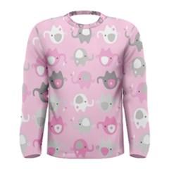 Animals Elephant Pink Cute Men s Long Sleeve Tee