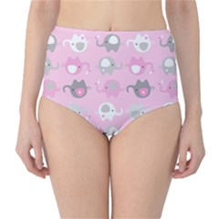 Animals Elephant Pink Cute High-Waist Bikini Bottoms