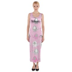 Animals Elephant Pink Cute Fitted Maxi Dress