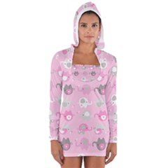 Animals Elephant Pink Cute Women s Long Sleeve Hooded T-shirt
