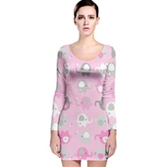 Animals Elephant Pink Cute Long Sleeve Velvet Bodycon Dress