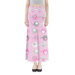 Animals Elephant Pink Cute Maxi Skirts