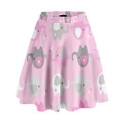 Animals Elephant Pink Cute High Waist Skirt