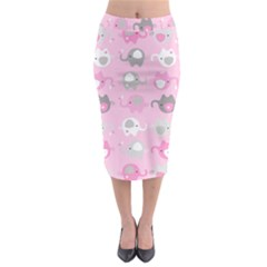 Animals Elephant Pink Cute Midi Pencil Skirt