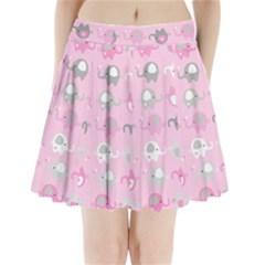 Animals Elephant Pink Cute Pleated Mini Skirt