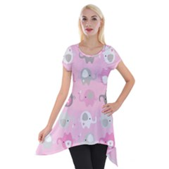 Animals Elephant Pink Cute Short Sleeve Side Drop Tunic