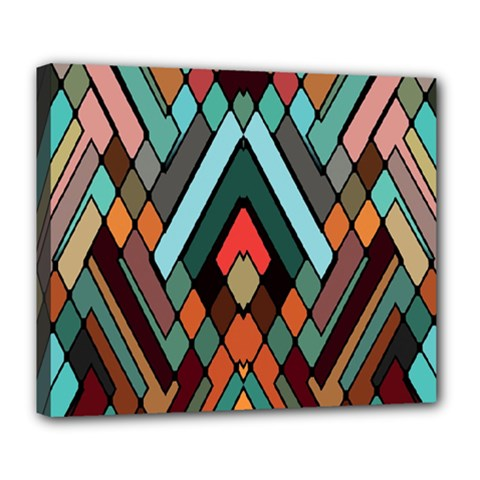 Abstract Mosaic Color Box Deluxe Canvas 24  x 20