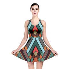 Abstract Mosaic Color Box Reversible Skater Dress