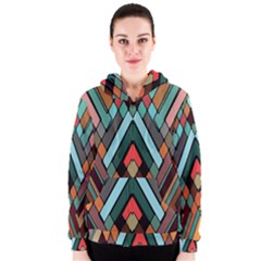 Abstract Mosaic Color Box Women s Zipper Hoodie