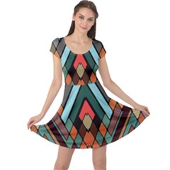 Abstract Mosaic Color Box Cap Sleeve Dresses