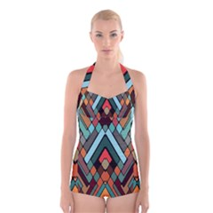 Abstract Mosaic Color Box Boyleg Halter Swimsuit