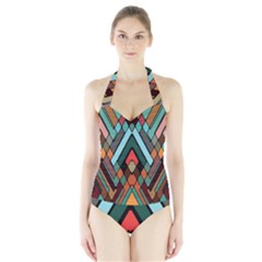 Abstract Mosaic Color Box Halter Swimsuit