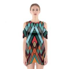 Abstract Mosaic Color Box Cutout Shoulder Dress