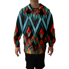 Abstract Mosaic Color Box Hooded Wind Breaker (Kids)