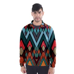 Abstract Mosaic Color Box Wind Breaker (Men)