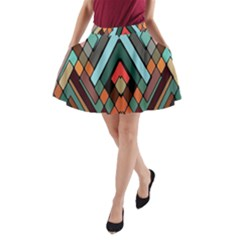 Abstract Mosaic Color Box A-Line Pocket Skirt