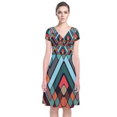 Abstract Mosaic Color Box Short Sleeve Front Wrap Dress