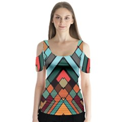 Abstract Mosaic Color Box Butterfly Sleeve Cutout Tee