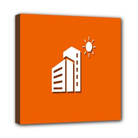 Building Orange Sun Copy Mini Canvas 8  x 8