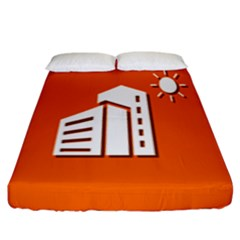 Building Orange Sun Copy Fitted Sheet (king Size)
