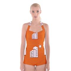 Building Orange Sun Copy Boyleg Halter Swimsuit