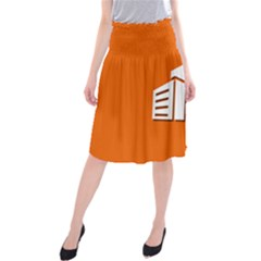 Building Orange Sun Copy Midi Beach Skirt