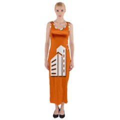 Building Orange Sun Copy Fitted Maxi Dress
