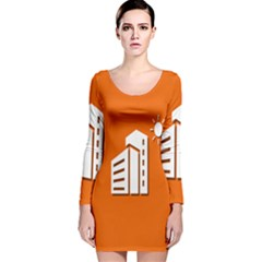Building Orange Sun Copy Long Sleeve Velvet Bodycon Dress