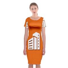 Building Orange Sun Copy Classic Short Sleeve Midi Dress