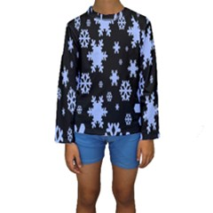 Blue Black Resolution Version Kids  Long Sleeve Swimwear