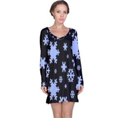 Blue Black Resolution Version Long Sleeve Nightdress