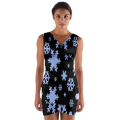 Blue Black Resolution Version Wrap Front Bodycon Dress