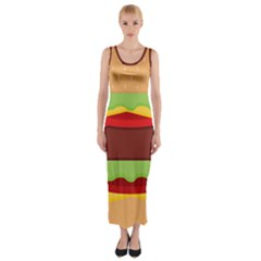 Cake Cute Burger Copy Fitted Maxi Dress