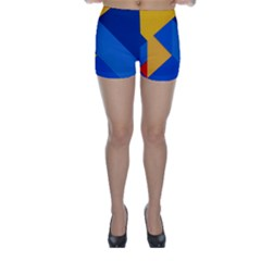 Box Yellow Blue Red Skinny Shorts