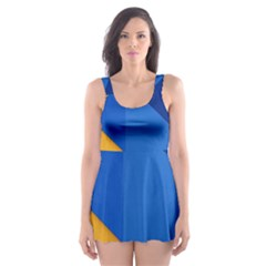 Box Yellow Blue Red Skater Dress Swimsuit