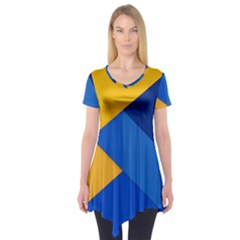 Box Yellow Blue Red Short Sleeve Tunic