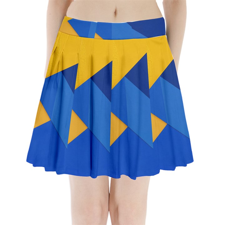 Box Yellow Blue Red Pleated Mini Skirt
