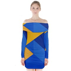 Box Yellow Blue Red Long Sleeve Off Shoulder Dress