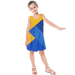 Box Yellow Blue Red Kids  Sleeveless Dress