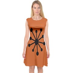 Centralized Garbage Flow Capsleeve Midi Dress