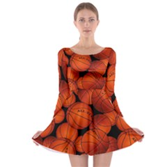 Basketball Sport Ball Champion All Star Long Sleeve Skater Dress