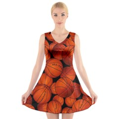 Basketball Sport Ball Champion All Star V-Neck Sleeveless Skater Dress