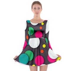 Color Balls Long Sleeve Skater Dress