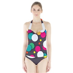 Color Balls Halter Swimsuit