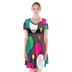 Color Balls Short Sleeve V-neck Flare Dress