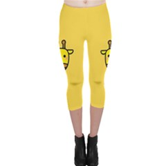 Cute Face Giraffe Capri Leggings