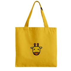 Cute Face Giraffe Zipper Grocery Tote Bag