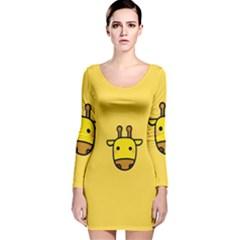 Cute Face Giraffe Long Sleeve Velvet Bodycon Dress