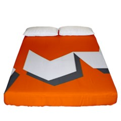 Cute Orange Chevron Fitted Sheet (california King Size)